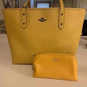 Yellow Coach Tote & Cosmetics pouch.
